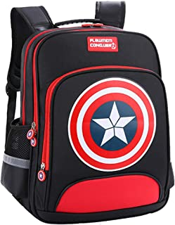 Lonme Kids' Backpacks Captain America Children Primary Schoolbag School Bags Teenager Student Backpack Dayback Waterproof, Black (Black) - 6999508666396