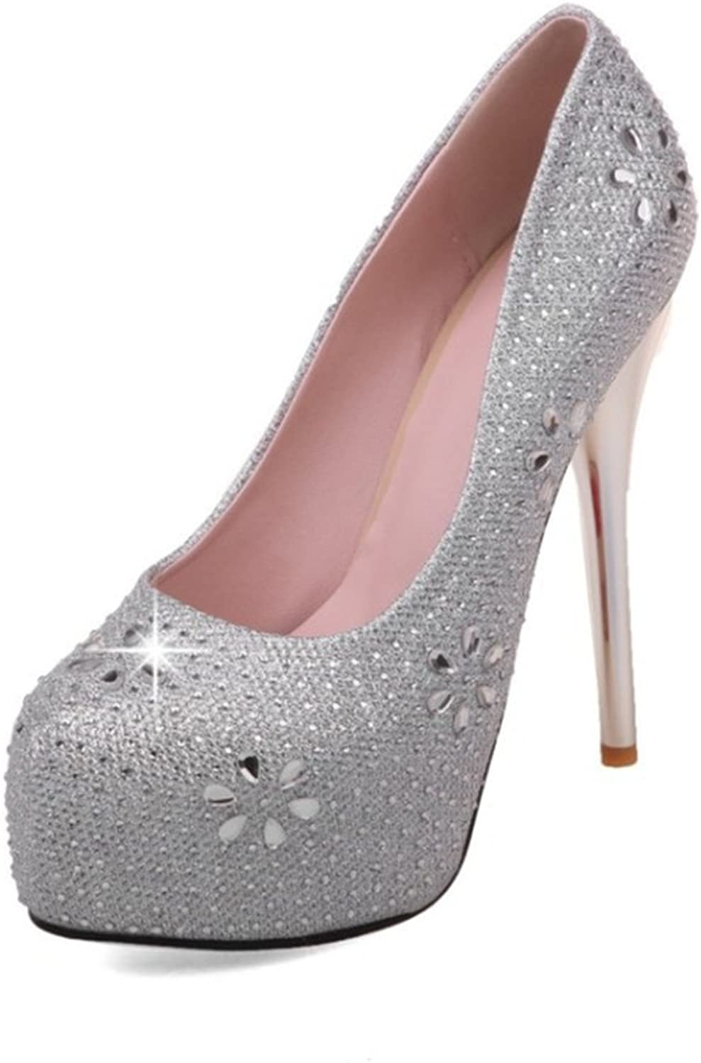 SUNNY Store Women's Satin Almond Toe Wedding Mid Heel with Rhinestone Details and Ankle Strap