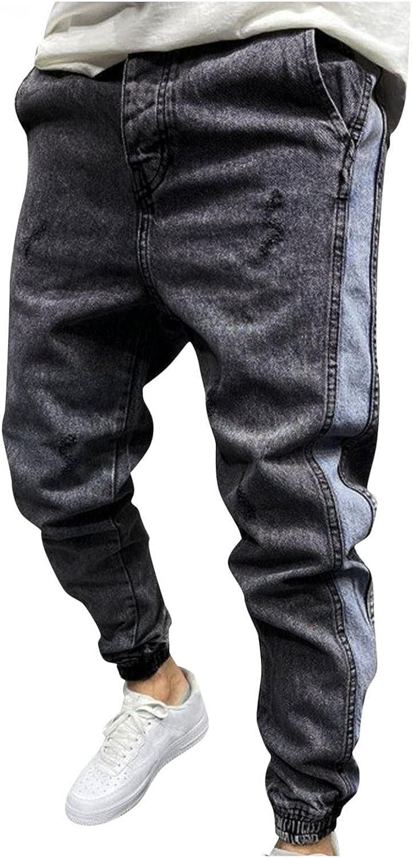 WOSHUAI Men's Casual Straight Leg Jeans Trendy Retro Slim Fit Denim Trousers