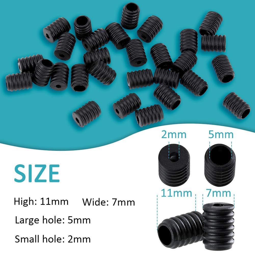 Black JNUYISW 50 Set Cord Lock Silicone Screw Toggle Elastic Straps Cord Nose Bridge Strips Clip Accessories for Drawstrings Adjustment DIY Face Cover