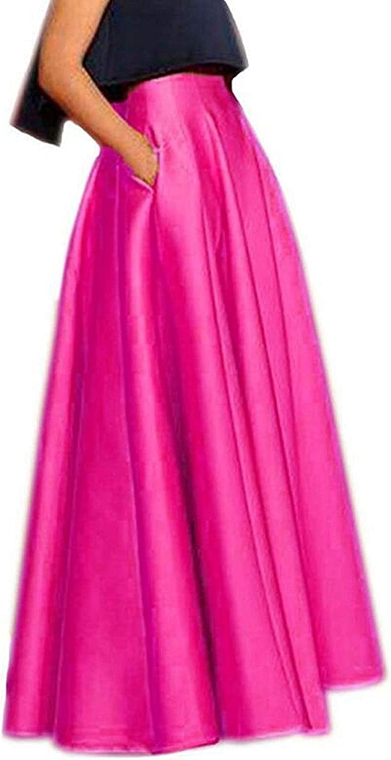 DreamSkirts Women's Long Satin Maxi Skirts High Waist ALine Pleated Formal Prom Party Skirts with Pockets