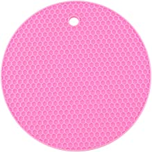 Yardwe Silicone Pot Holders Heat Resistant Non-slip Trivet Mats Hot Pads Multipurpose Trivet For Home Use (Pink)