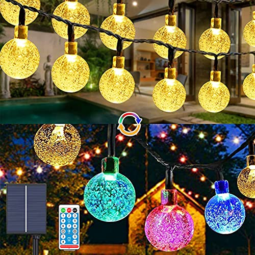 Guirnalda Luces Exterior Solar,Balippe 9M Cadena de Bola Cristal Luz 60 LED 1200mAh panel solares 8 Modos con Control Remoto para jardín,boda,casa,Fiesta(Blanco cálido o Combinación de colores)