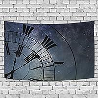 VAWA タペストリー 壁掛け おしゃれ 星空柄 星柄 宇宙 銀河 時計柄 インテリア 室内装飾 間仕切り ホーム装飾 模様替え 多機能 部屋 窓 大判 約幅152x101cm