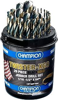 Champion Cutting Tool Corp TWISTER-XGO Champion Cutting Tool Heavy Duty Black & Gold 29Piece Jobber Drill Bit Set- Made In USA, 135° Split Pt, 1/16