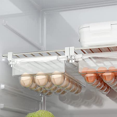 Refrigerator Eggs Storage Container, Fridge Egg Holder Drawer Organizer, Pull Out with Handle, Fridge Shelf Holder Egg Tray (Fit 15 Eggs)
