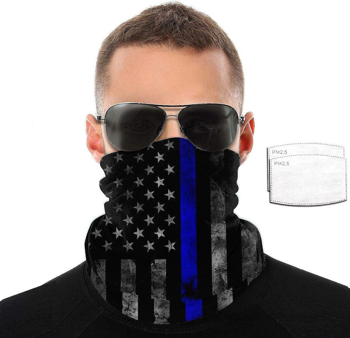 Thin Blue Line American Flag POLICE COP Pm2.5 Filter Neck Gaiter Reusable Washable Face Dust Mask Bandana Half Bavaclava Headband Shield Scarf Fishing Print Pattern