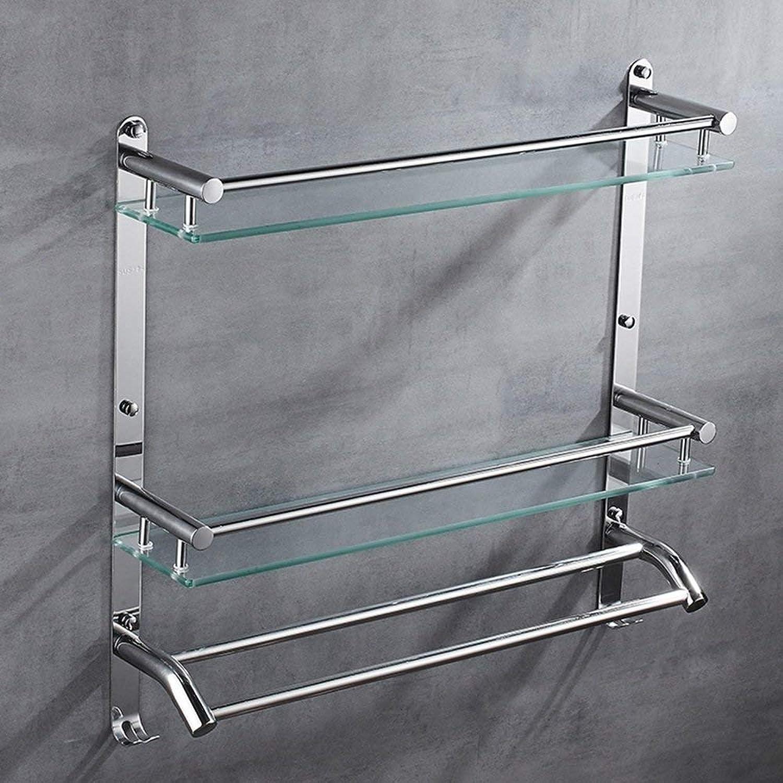 GFF Bathroom Shelf Shelf 304 Stainless Steel 8MM Tempered Glass Shelf Surface Polishing Shelves (Size   50  56  12cm)