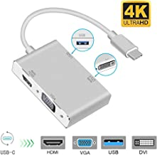 USB C to HDMI/DVI/VGA/USB 3.0 Adapter,USB 3.1 Type-C Hub to HDMI DVI 4K VGA USB Adaptor Converter (Thunderbolt 3 Compatible),4in1USB C Hub Adapter for 2016/2017/2018 MacBook/MacBook Pro and More
