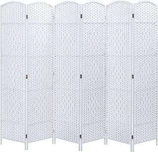 6 Panel Room Divider Decorative Folding Rattan Wicker Screen Room Privacy Separator White