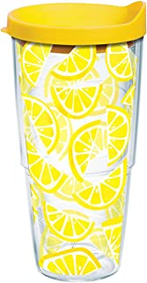 Tervis 1243344 Lemon Trend Tumbler with Wrap and Yellow Lid 24oz, Clear