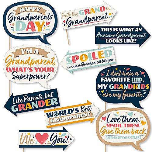 Big Dot of Happiness Funny Happy Grandparents Day – Grandma & Grandpa Party Photo Booth Props Kit – 10 Piece
