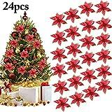 Outgeek Flores para Navidad, 24 Piezas 5.91'Flor de Navidad Artificial con Purpurina de Navidad para Árbol de Navidad Guirnalda Ornamento de la decoración del Partido (Rojo)