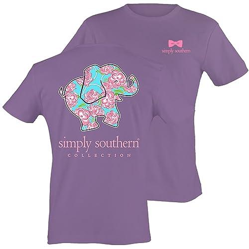 cbcdd086 Simply Southern Women's Preppy Elephant Amethyst S