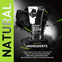 Qraa Men Activated Bamboo Charcoal Scrub with Essential Oils, 100g For deep cleansing