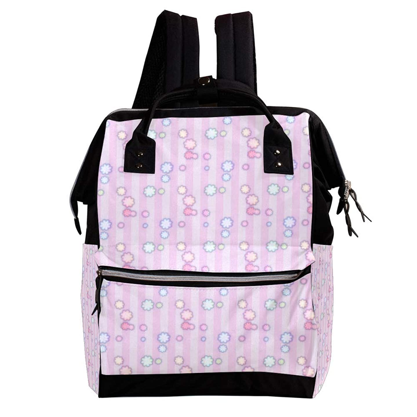 Little Flowers with Stripes Pattern Diaper Bag Backpack for Mom, Large Capacity Multi-Function Travel Backpack Maternity Nappy Bags for Baby Care, Stylish and Durable, Lightweight