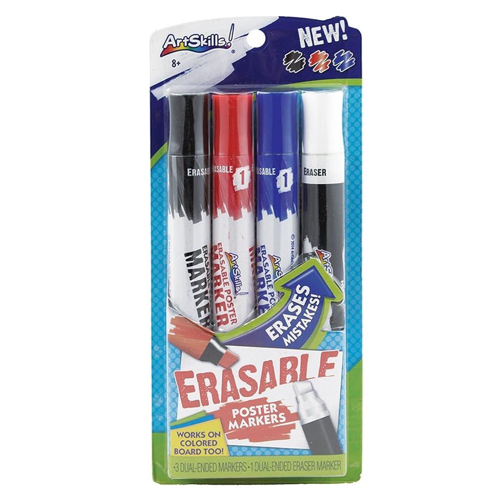 ArtSkills Erasable Markers, Dual Ended, Eraser Marker Included, Assorted Colors, 4 Count