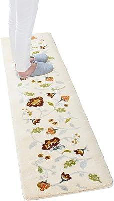 オカ(OKA) キッチンマット アイボリー 約45cm×180cm プリエール (上品 ウィルトン織り)