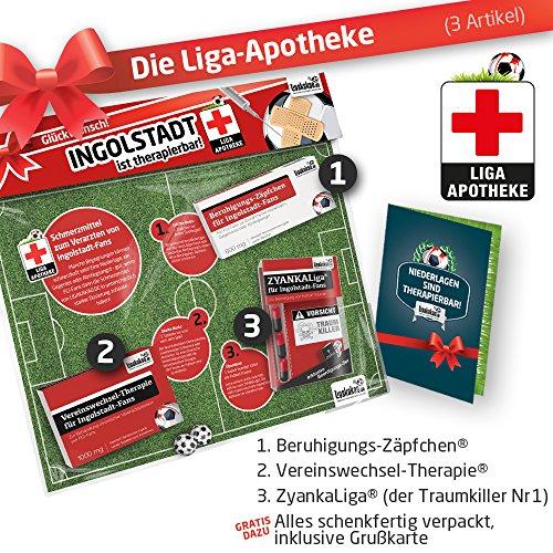 Geschenk-Set: Die Liga-Apotheke für Ingolstadt-Fans | 3X süße Schmerzmittel für Ingolstadt 04 Fans | Die besten Fanartikel der Liga, Besser als Trikot, Home Away, Saison 18/19 Jersey