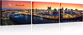 TUMOVO Nashville Skyline Wall Art Nashville Tennessee Downtown Night Panorama Cityscape..