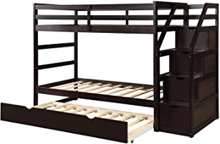 MIERES Designs Twin-Over-Full Bunk Bed with Ladders and Two Storage Drawers, Espresso