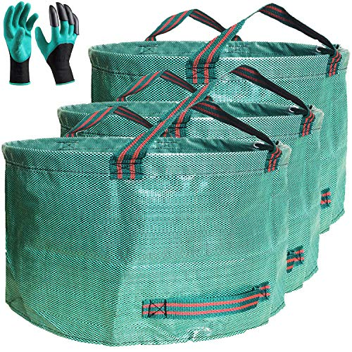 Professional 3-Pack 63 Gallons Lawn Garden Bags (D31, H19 inches) Reusable Yard Waste Bag with Gardening Gloves - Patio Standable Bag,Leaf Bag,Trash Containers,Plant Clippings Bag with 4 Handles