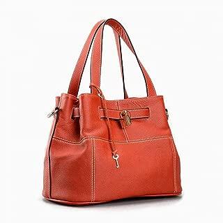 GEDASHAN Women Shoulder Bag Elegant Women Shoulder Bag Charm Orange Fashion Messenger Crossbody Purse With Lock Decoration Handbag