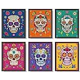 6 Decoraciones de Arte de Pared de Calavera de Azúcar Póster de Dia de Los Muertos Fiesta Mexicana de Día de Muertos Impresiones de Arte de Decoración de Calavera de Azúcar, 8 x 10 Pulgadas