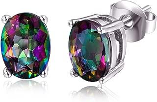 Oval Opal Sterling Silver Stud Earrings 8mm(White/Blue/Green/Rainbow)