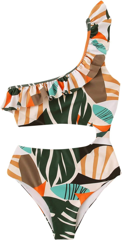 SweatyRocks Women's One Piece Swimsuit One Shoulder Cut Out Leopard Tie Waist Bathing Suits Monokini