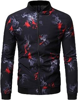 CRYYU Men Hipster Print Stand Collar Slim Fit Zip Front Lightweight Bomber Jacket