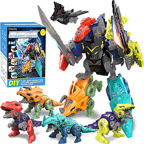 Kids Dinosaur Toys for 3 4 5 6 7 8 Year Old Boys Gifts, 5 in 1 Dinosaur Building Toys Set, DIY Take Apart Transform into Robot Toys for Birthday Christmas