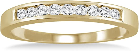 AGS Certified 1/4 Carat TW Channel Set Diamond Band in 10K Yellow Gold (K-L Color, I2-I3 Clarity)