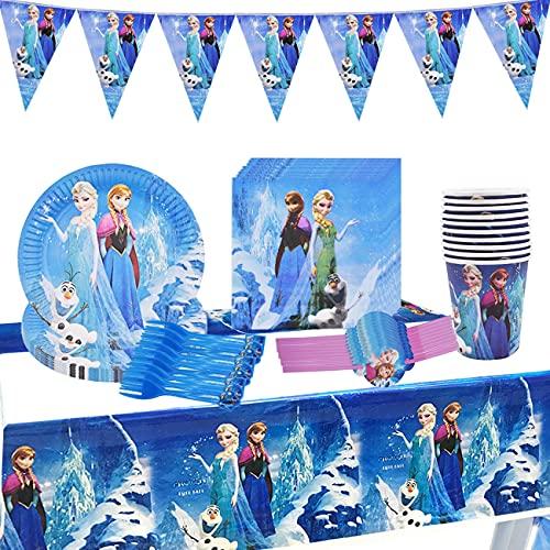 Miotlsy 71pcs Frozen Birthday Party Set Decorazione di Compleanno Stoviglie Set di Accessori per Feste Set da tavola Set di stoviglie Tavola Congelati per Bambini Compleanno
