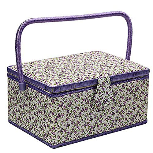 Large Sewing Basket with Accessories, Sewing Organizer Box for Sewing Supplies and DIY Crafting Tools Storage, Sewing Kit Tools for Sewing Mending (Purple)