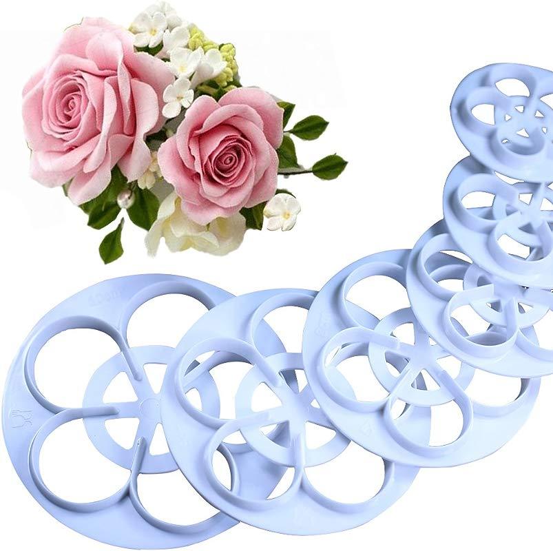 KALAIEN Rose Flower Cutters Set Gumpaste Flowers Modelling Tools For Cake Decorating Cookie Mold Sugarcraft Plunger Cutter Mold Set Of 6