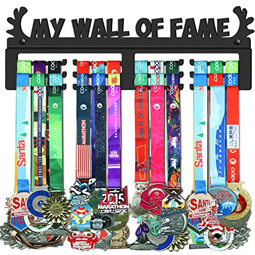 WEBIN My Wall of Fame Medaillen Aufhänger Halter Display Rack,Schwarz Super Hart Stahl Metall,Wandmontage Über 50 Medaillen