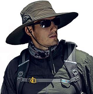 Fintier 人気な シンプルな サファリハット 日よけ帽子 UPF 50+ UVカット ハット バケットハット つば広ハット ひも付き 春夏秋 吸汗通気性抜群 登山 釣り スポーツ アウトドア ハット メンズ
