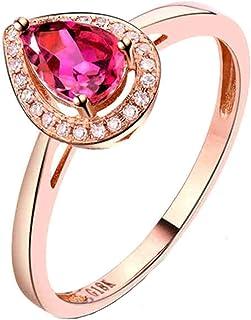 Daesar Anelli di Matrimonio Oro Rosa 18K, Anello Donna Anello Tormalina 0.5ct Taglio Goccia con Diamante 0.07ct Anello in ...