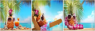 FUNHUA Pineapple with Sunglasses and Garland Paintings Canvas Wall Art for Bathroom Restaurant Wall Decor Fruits Canvas Prints with Wooden Frame 12x12inchx3pcs