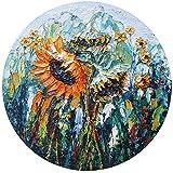 Pintura al óleo pintada a mano flor de sol sobre lienzo estirado moderno Pop Room Art Decor