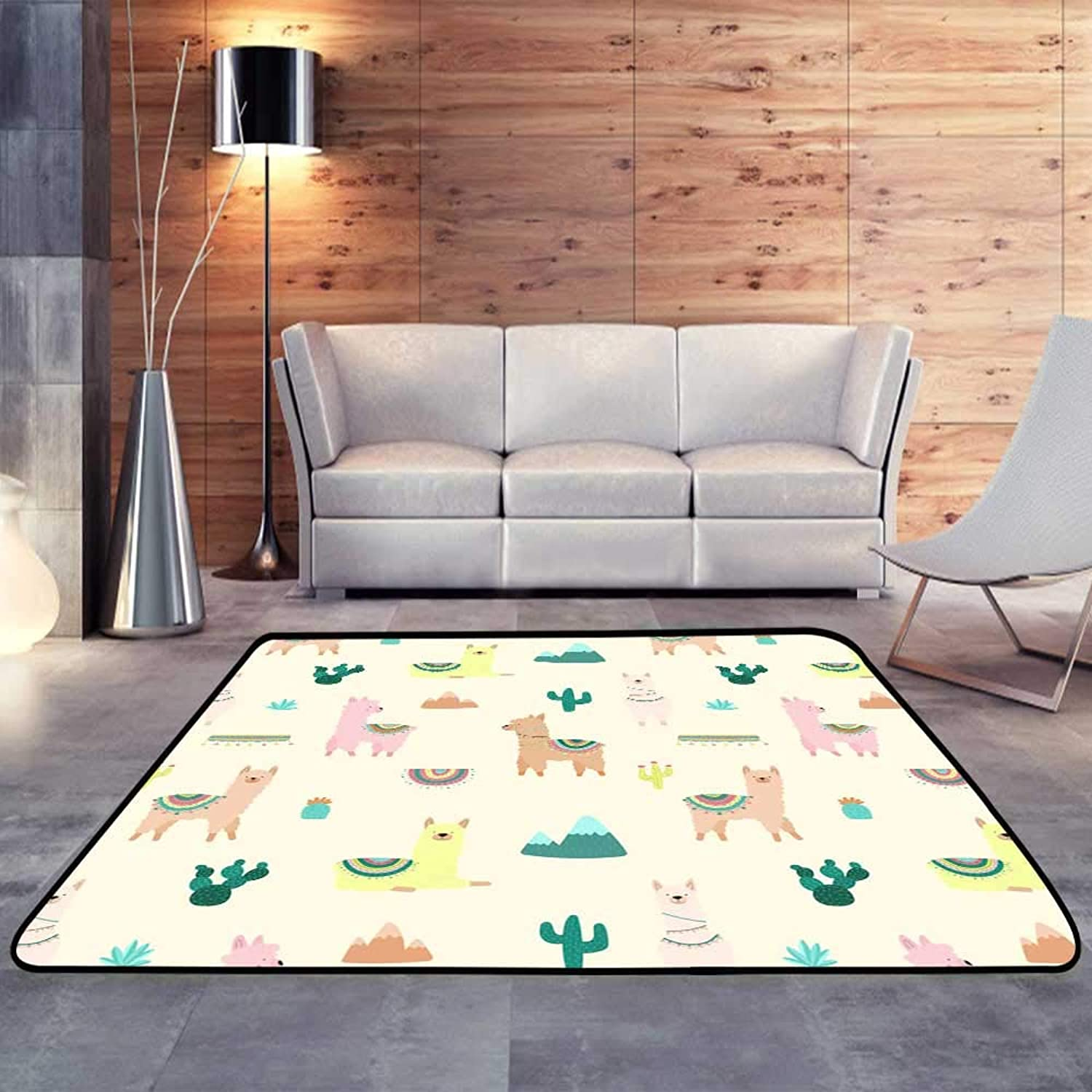 Kids rugsof Cute Multicolord Llamas or Alpacas, Mountains, Cacti on a Light.W 47  x L59 Slip-Resistant Washable Entrance Doormat