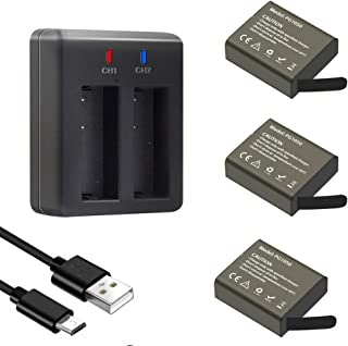 GeeKam Batería de la cámara de acción Batería Recargable de 3 x 1050 mAh con alimentación Dual de Cargador USB para cámara de Deportes 4K