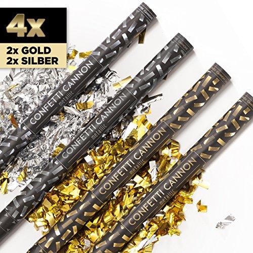 PartyMarty 4 x XXL Konfetti-Shooter Gold & Silber 80 cm - Party Popper Konfettikanone Konfettishooter Streamer - für Silvester, Hochzeit, Party, Geburtstag & Co GmbH®