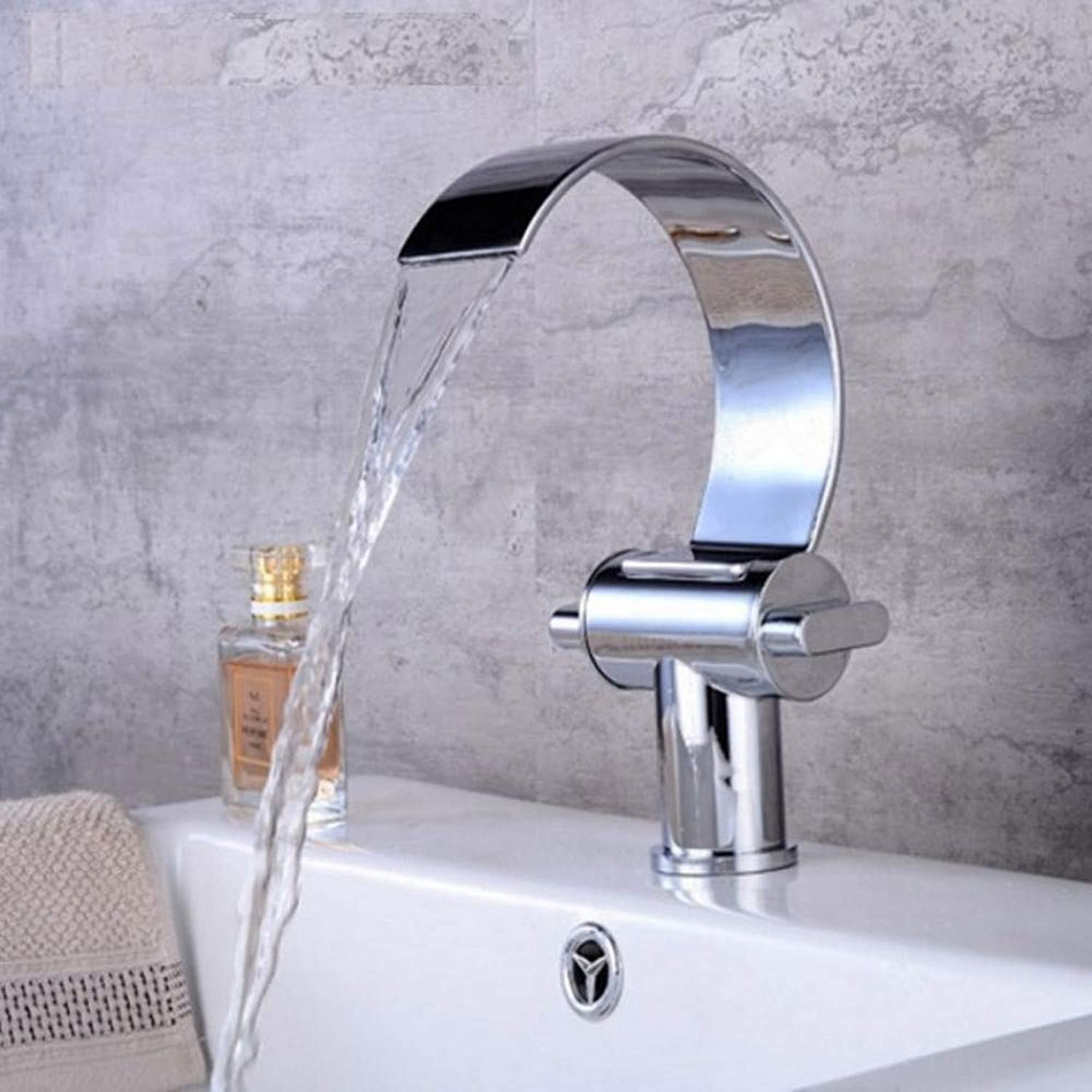 Dwthh New Style Brass Deck Mount Bathroom Faucets Vanity Vessel Sinks Mixer Waterfall Faucet Tap