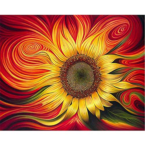 DIY Oil Painting Paint by Numbers Kits for Adult Paint Color According to The Numbers on The Canvas 16x20 inch - Drawing with Brushes Christmas Decor(Without Frame) (Sunflower)