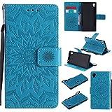 Nancen Compatible with Handyhülle Sony Xperia M4 Aqua Hülle,Leder Wallet Tasche Brieftasche Schutzhülle, Nancen Prägung Sonnenblume Muster