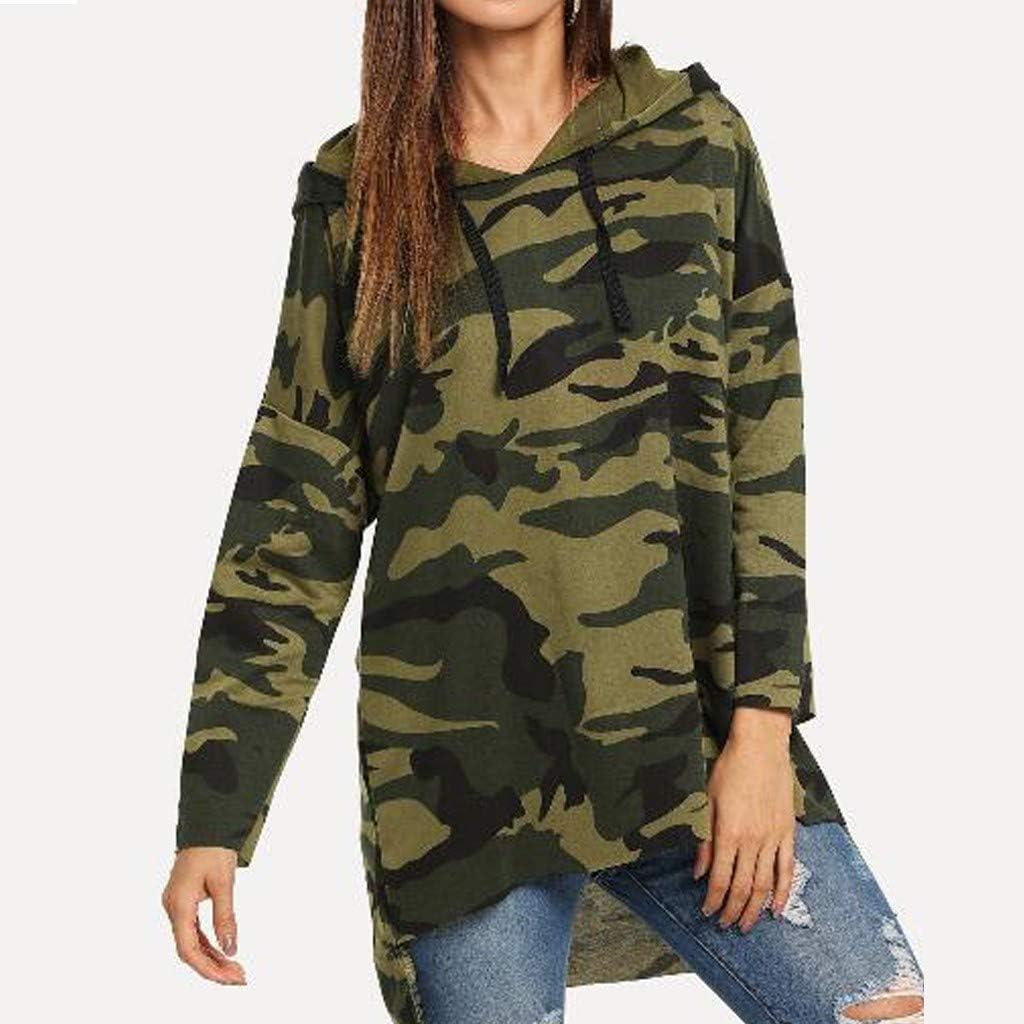 FORH Damen Vintage Camouflage-Style gedruckte Hoodie Sweatshirt super weich Kapuzenpulli Tops Bluse Rosa