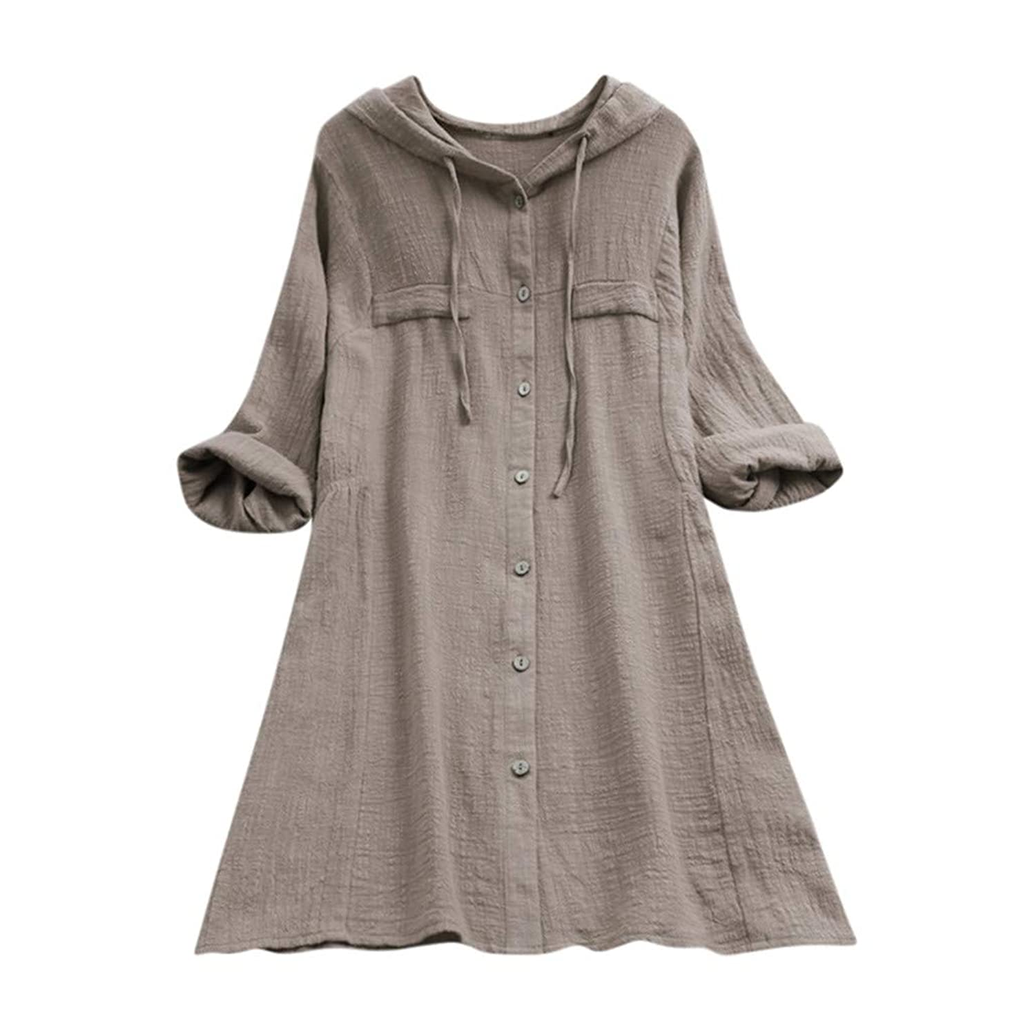 Euone Dress, Womens Casual Button Plus Size Cotton Tops Tee Shirt Hooded Pocket Loose Blouse