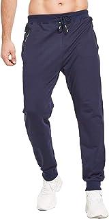 JustSun Men's Cotton Jogging Bottoms with Fashion Zip Pockets